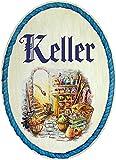 Kaltner Präsente Idea de regalo – Cartel decorativo de madera para puerta en diseño antiguo – Artículo decorativo con diseño de bodega (18 cm de diámetro)
