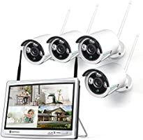 HeimVision HM243 1080P Wireless Security Camera System with 12 inch LCD Monitor, 8CH NVR 4Pcs Outdoor/Indoor WiFi...
