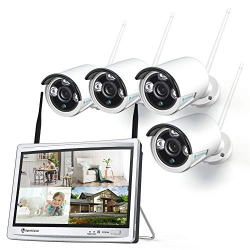 HeimVision HM243 1080P Wireless Security Camera System with 12 inch LCD Monitor, 8CH NVR 4Pcs...