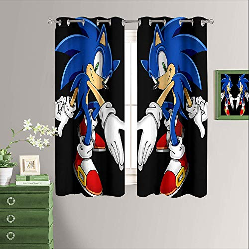 Sonic The Hedgehog - Cortinas para oscurecer la habitación, con ojales para el dormitorio, 132 x 163 cm