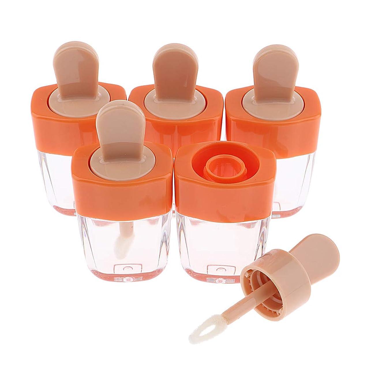 フェデレーション政治的分CUTICATE 5個 空のリップグロスチューブ 6ml 化粧品容器ボトル 4色選べ - オレンジ