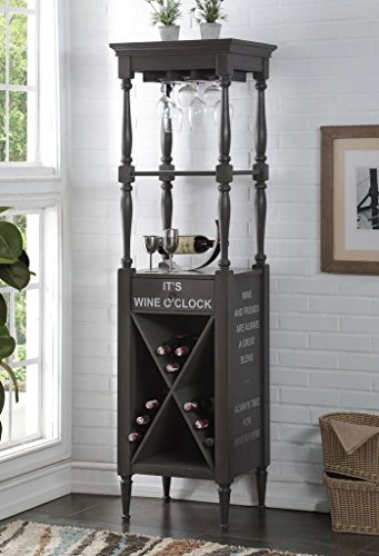 Major-Q 9097460 73' H Gray Finish Wooden Wine Rack Cabinet with Storage Compartments