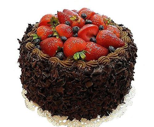 Handgemachte & Naturgetreue Imitation/Lebensmittelattrappe - Sehr Große Schokoladentorte mit Erdbeeren & Verzierungen - Durchmesser: 20cm / Höhe: 13cm