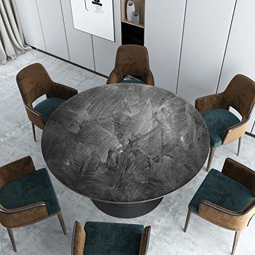 GJBHD Mantel Redondo De Vinilo,Impermeable PVC Protector De Mesa Patrón De Mármol Vendimia Mesa para Comer Té Mesa Cojín De Escritorio-a Diameter:80cm