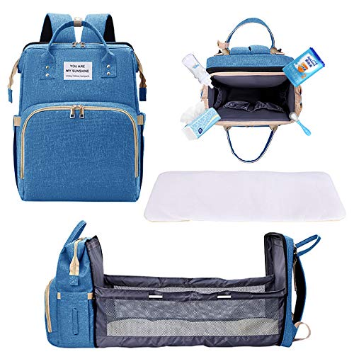 Travel Foldable Baby Bed, Diaper Bag Backpack Changing Station for Men Women, Portable Bassinets for Baby Girls Boys, Travel Crib Infant Sleeper, Baby Nest with Mattress Included (Blue)