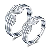 CPSLOVE Anillo de plata de ley 925 para pareja, anillos de boda, Infinito Amor'X' Letra Incrustaciones Circón, tamaño ajustable, Regalo de San Valentín, Navidad y Boda