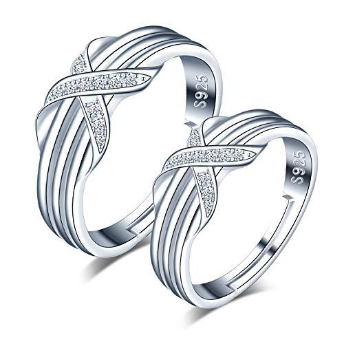 CPSLOVE Anillo de plata de ley 925 para pareja, anillos de boda, Infinito Amor'X' Letra Incrustaciones Circón, tamaño ajustable, Anillo de compromiso