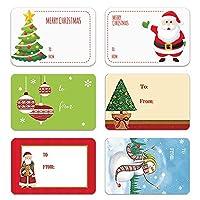 250個/ロール6デザイン粘着性クリスマスギフト名札XMASステッカープレゼントシールラベルクリスマスデカールギフトパッケージ (4)