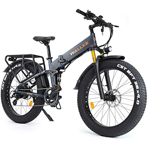 W WALLKE X3 Pro Electric Bike Mountain 750W Ebike 26 inch Fat Tire Snow Bicycle, 28MPH Adults Ebike with Removable 48V 14AH Lithium Battery,Professional 8 Speed Gears