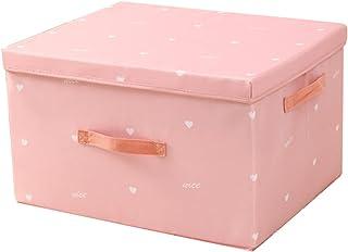 Boîte de rangement pliable avec poignée et couvercle lavable en machine - Pour penderie, vêtements, cosmétiques, livres, j...