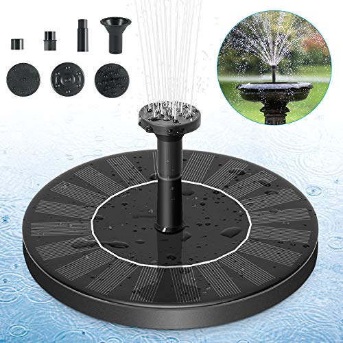 Solar Fountain Pump, Solar Powered Bird Bath Fountain Pump 1.4W Solar Panel Kit Water Pump