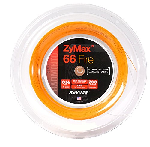 ASHAWAY ZyMax 66 Fire Badminton Saiten 200 m (660 FT) Spule orange