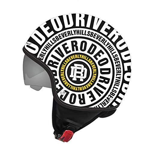 Rodeo Drive Casque Djet Decal Noir Blanc Jaune avec Occhialino solaire taille s