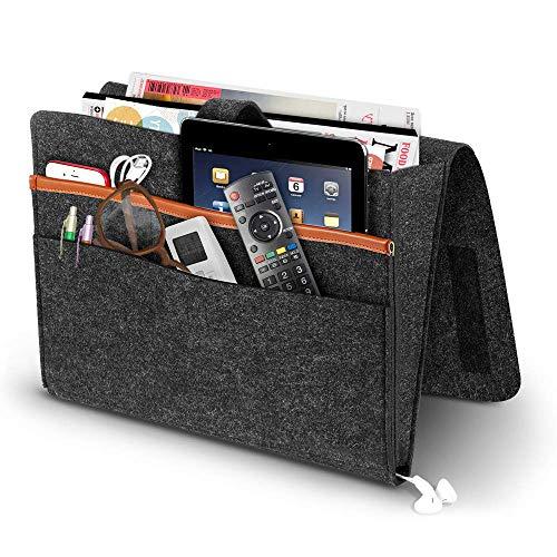 Jespeker - Organizador de escritorio de fieltro para almacenamiento de cama, bandeja de sofá, bolsillos de litera, debajo del colchón