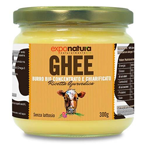 Ghee biologico 300g - burro chiarificato secondo l'antica ricetta Ayurvedica - solo da latte di mucche al pascolo - senza lattosio estremamente digeribile - Exponatura