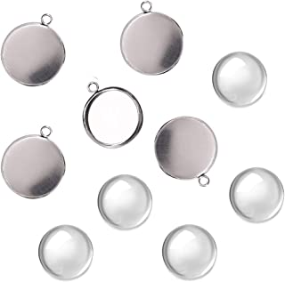 200Pcs Bezel Pendant Blanks Kit-100Pcs Stainless Steel Pendant Trays Round Bezel with 100Pcs Glass Cabochons Clear Dome,8mm Pendant Blanks for Photo Pendant Craft Jewelry Making