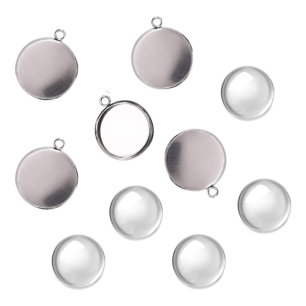 DROLE 100Pcs Bezel Pendant Blanks Kit-50Pcs Stainless Steel Pendant Trays Round Bezel with 50Pcs Glass Cabochons Clear Dome,16mm Pendant Blanks for Photo Pendant Craft Jewelry Making