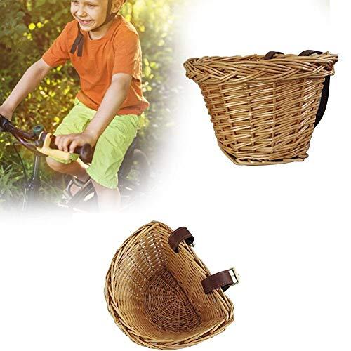 Globqi Fietsmand van gevlochten wilgentenen, voor kinderen, mand in D-vorm, traditionele rieten mand vooraan – handmatige technologie, waterdichte mand