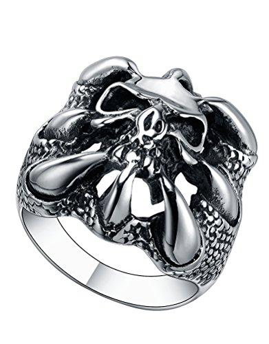 Anello in acciaio inossidabile Uomo, drago artiglio con teschio, gotico, Biker