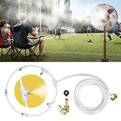 HOMENOTE Outdoor Misting Fan Kit for a Cool Patio Breeze 19.36FT (5.9M) Misting Line + 5 Brass Mist Nozzles + a Brass Adapter(3/4) Fit to Any Outdoor Fan