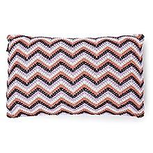 Vezavena   Cojín de Estilo Crochet Multi Color en Zig Zag   Elaborado con Algodón Ecológico Reciclado  Textil de Hogar para Decoración de Salones o Habitaciones - 50x30 cm