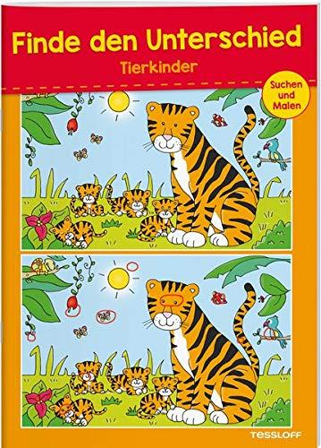 Finde den Unterschied Tierkinder: 24 kniffelige Suchbilder mit Lösungsteil (Rätsel, Spaß, Spiele)