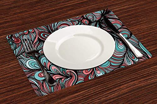 Lot de 4 Sets de Table,Art, formes absurdes aux couleurs sombres dans un art abstrait inspiré du style,Lavable Napperons pour Cuisine ou pour Table à Manger Résiste à la Chaleur Antidérapant (30x45cm)