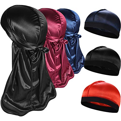 3+3 Silky Durag & Wave Cap Sets, Satin Doo Rags Compression Cap Pack...