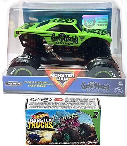 Hot Wheels Green Gas Monkey Action Jam Garage Giant Official Blind Box Series Mini Monster Truck with Power Key Launcher 2 Items Bundle