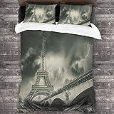 3D Juego Funda De Diseño Personalizado,Storm Above Eiffel Tower Dramatic Night Sky View With Of Thunder Dark Clouds,Ropa de Cama Set 1 Edredón 2 Fundas de Almohada Microfibra jueg,135*210cm*1