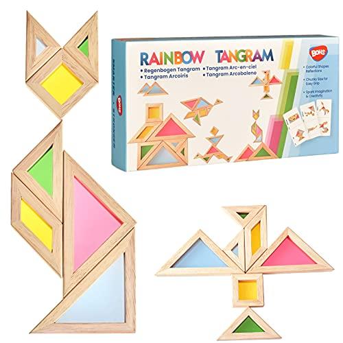 BOHS Rainbow Tangram con tarjetas de actividad, rompecabezas de tamaño grueso, mesa de luz para niños pequeños | Juguetes para ventanas de jardín /7 piezas