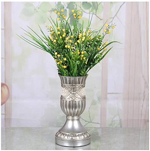 Vaas Graf Grote Zilver Europese stijl Simulatie Hars Set Home Accessoires Ornamenten Nep Bloemen Droge Woonkamer Decoraties Eettafel 15 * 29. 5 cm voor bloemen