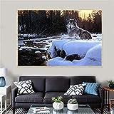 NIMCG Pintura Abstracta Invierno Nieve Lobo Lobo Bosque póster Luna decoración de la Pared impresión (sin Marco) A4 60x90CM