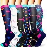 Sooverki Calcetines de compresión para Mujeres y Hombres 20-25 mmHg es el Mejor Graduado atlético, Correr, Volar, Viajar, Enfermeras 06-Multicolor-6 Pares S/M