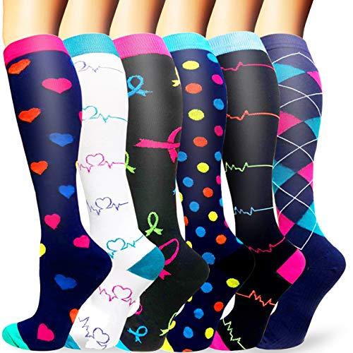 Sooverki Calcetines de compresión para Mujeres y Hombres 20-25 mmHg es el Mejor Graduado atlético, Correr, Volar, Viajar, Enfermeras 05-Multicolor-6 Pares L/XL