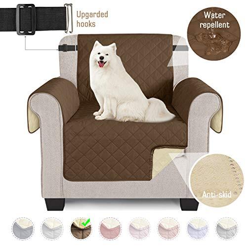 TAOCOCO Sofabezüge wasserdichte Sofa Überwürfe mit elastischen Riemen Anti-Rutsch-Schaum für das Wohnzimmer Schutz für Hunde Vor Haustieren, Verschütten, Abnutzung und Riss schützen (Braun, 1 Sitzer)