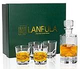 LANFULA Whisky Karaffe und Gläsern Set, 600 ml Dekanter mit 4 Bleifrei Kristall Gläser 230 ml. 5-teiliges, Schöne Geschenkbox