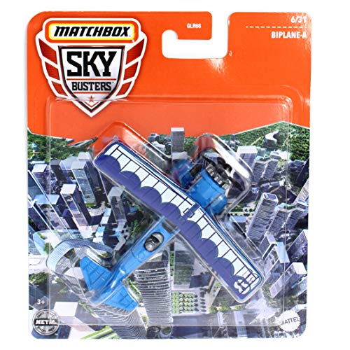 Matchbox Sky Busters Biplane-A, Blue and White