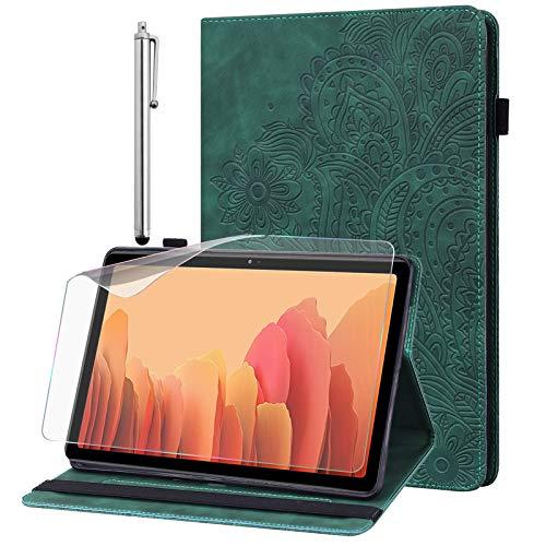 GLANDOTU Hülle für Samsung Galaxy Tab A6 10.1 SM-T580/T585 mit Schutzfolie und Stylus Stift - Ultra Dünn mit Standfunktion Flip Cover PU Leder Hülle Tab A 10.1 2016 (Grün)