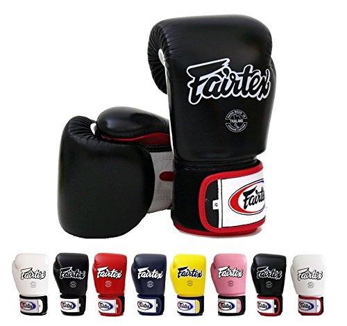 Fairtex - Guantes de boxeo para Muay Thai BGV1, color negro, azul, rojo, amarillo, blanco, tamaño: 10, 12, 14 16 onzas, guantes de entrenamiento para kickboxing, MMA K1, Hombre Mujer, color negro/blanco/rojo, tamaño 280 g