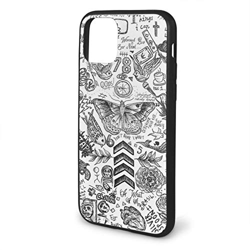 Houte One Direction Tattoos Compatible with iPhone 11 12 PRO Max XR XS Max 6/7/8 Plus SE 2020 Case TPU Fall Protection Black Phone Cases Cover