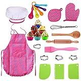 A/H 25-teiliges Kochset Kinder Kochen Spiel, Küchenkostüm Rollenspiele mit Koch Und Backset Ofenhandschuh, Kochmütze Pädagogisches Spielzeug fur ab 3 Jahren (25 pcs)