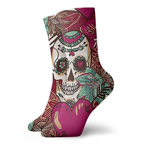 QUEMIN Calcetines Calcetines deportivos transpirables con calavera de azcar, exticos, modernos, para mujeres y hombres, calcetines deportivos estampados, 30 cm (11,8 pulgadas)