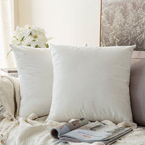 Pack de 2, MIULEE Terciopelo Suave Juego de Mesa de Manta de decoración Cuadrado Fundas de Almohada Funda de cojín para sofá dormitorio18 x 18 Pulgada 45 x 45 cm Blanco Puro