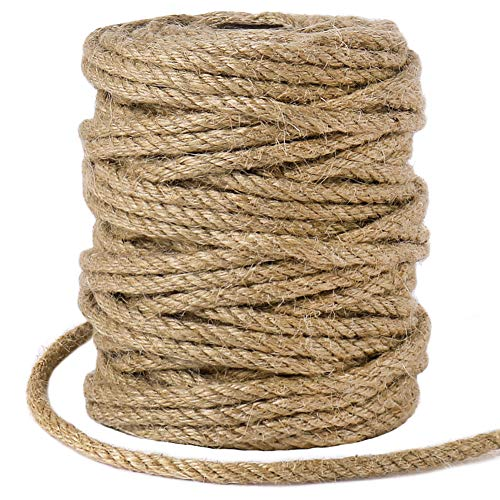 Cuerda de yute de 5 mm, cuerda de macramé de yute trenzado natural de 98 pies para jardín, regalos, manualidades