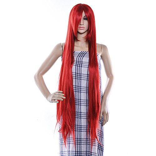 AGPtEK 40 Inches High Temperature Japanese Fiber & professional Wig Long Silky Straight Cosplay Fashion Hair Heat Resistant Full Wig-Red
