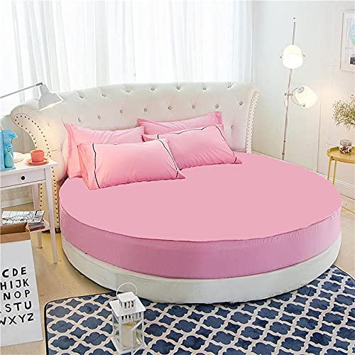 DSman Protector de colchón Acolchado - Microfibra - Funda para colchon estira hasta Funda de Cama Redonda de algodón de Color Liso-Rosa_1,8m