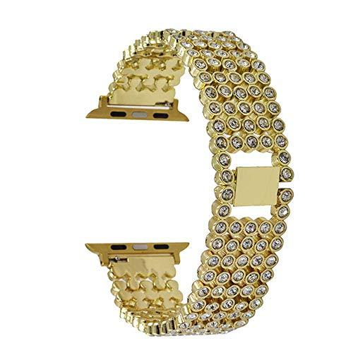 LANGY Rose Gold Diamonds WomanUhrenarmbandfüriwatch4 / 3/2/1 Armbanduhr Five Beads Full Diamonds Armband