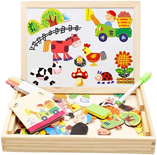Felly Juguetes Montessori 3 4 5 años, Juegos Educativos Pizarra Magnetica Rompecabezas de Madera Puzzle, Magnéticos Tablero de Dibujo de Doble Cara para Infantil Niños Niña (Granja)