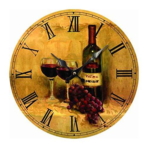 Reloj De Pared Silencioso UVA De Vino Tinto Reloj De Pared Grande Reloj De Pared De Madera